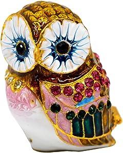 CLARA Bird Jewelry Box Owl Crystal Studded Trinket Box Sparkling Rhinestone Enamel Home Decoration Collectible Figurine Coffee