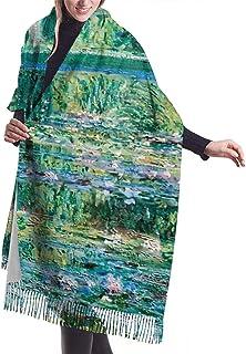 Beibao-shop Gigli Claude Monet Ninfee Sciarpa calda invernale da donna Sciarpe avvolgenti lunghe e morbide in cashmere morbido