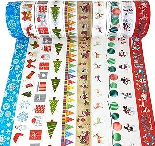 ZesNice 10Unidades Washi Tape Cinta Decorativa navideña Masking Tape Cinta Adhesiva Manualidades para Scrapbooking DIY Christmas Regalo del Paquete