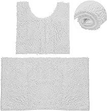 Bathroom Rugs Chenille Bath Mat Set, Soft Plush Non-Skid Shower Rug +Toilet Mat. (White)