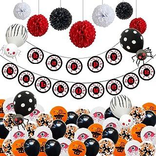 CNNIK 48 Piezas Set de decoración de Halloween con pancartas Happy Halloween, Globos de Ojos Rojos/murciélagos/Lentejuelas, Flores de Papel y arañas Hechas a Mano, para la Fiesta de Halloween