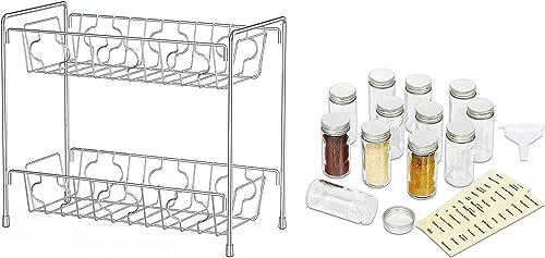 2021 SimpleHouseware 2-Tier Kitchen Counter online Organizer Spice Rack + 12 Empty Spice 2021 Bottles with label outlet online sale