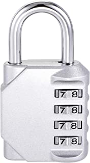 uxcell 4 Digit Combination Luggage Lock Travel Resettable Padlock Zinc Alloy Silver Tone 80x43x20mm