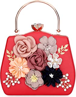 Tooba Handicraft Beautiful Flower Box Clutch Bag Purse, Size 8x5 inches For Bridal, Casual, Party, Wedding
