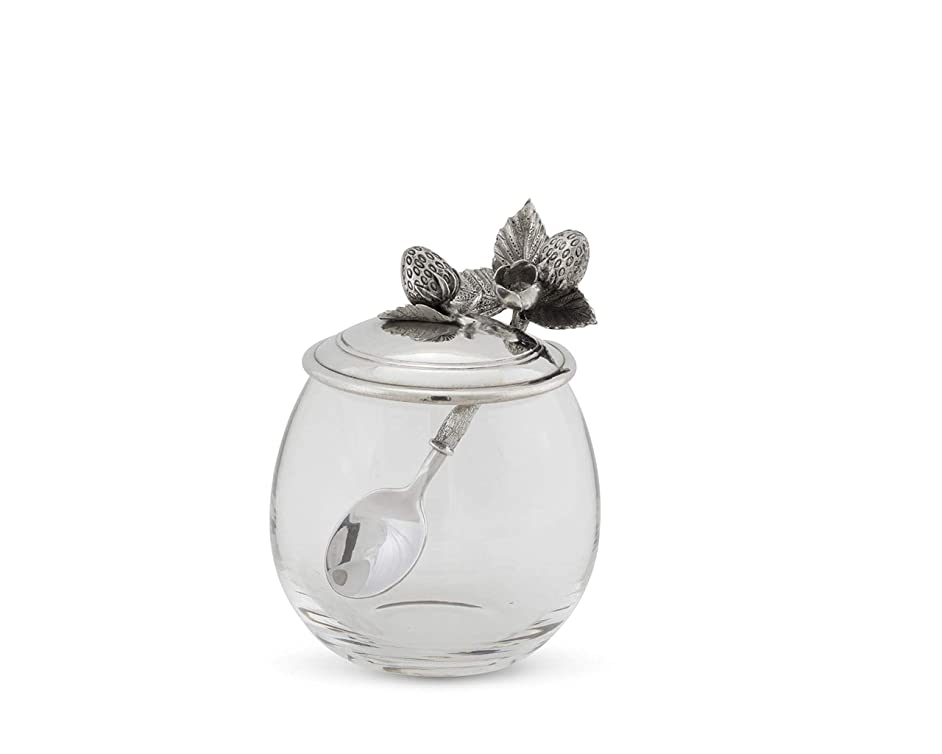 Vagabond House Pewter Metal Strawberry Jam Jar/Pot with Spoon 5