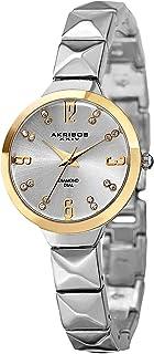 Akribos XXIV Women's Swiss Quartz Watch - 16 Genuine Diamond Markers - with Diamond Dial and Pyramid Cut Chain Bracelet - AK793