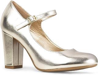 J. Adams سكيبى كعب للنساء - مقدمة مستديرة مكتنز الكعب العالي أحذية ماري جاين