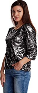Women's Sparkle Glitter Tank Party Sequin Blouse Costume Cocktail Glitzy Tee-Shirt Personalized Night Out Tops, Plus Size