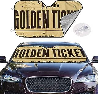 Front Car Sunshade Windshield Wonka Golden Ticket Auto Shade for Car Foldable UV Ray Reflector Auto Front Window Sun Shade Visor Shield Cover, Keeps Vehicle Cool (51.2