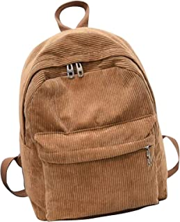 Modana Corduroy Backpack Retro Solid Color Casual Daypack Shoulder Bag for Women Girl and Student