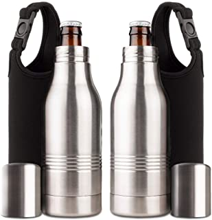 Strova Beer Bottle Insulator (2-Piece Set) Stainless-Steel Insulated Bottle Holder w/Double-Walled Insulation – Beer Cooler Keeps Drinks Colder, Longer (Includes 2 Carry Bags)