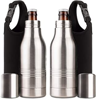 Strova Beer Bottle Insulator (2-Piece Set) | Stainless-Steel Metal Insulated Holder w/Double-Walled Insulation | Keep Drinks Colder, Longer | Includes 2 Carry Bags | Outdoor, Camping, BBQ, Fishing