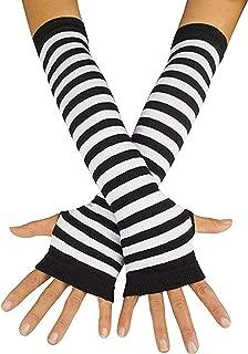 Striped Long Arm Warmer Fingerless Gloves Punk Gothic Rock