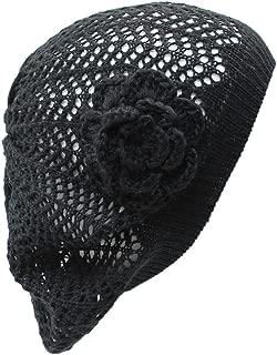 an Open Weave Womens Crochet Mesh Beanie Hat Flower Fashion Soft Knit Beret Cap