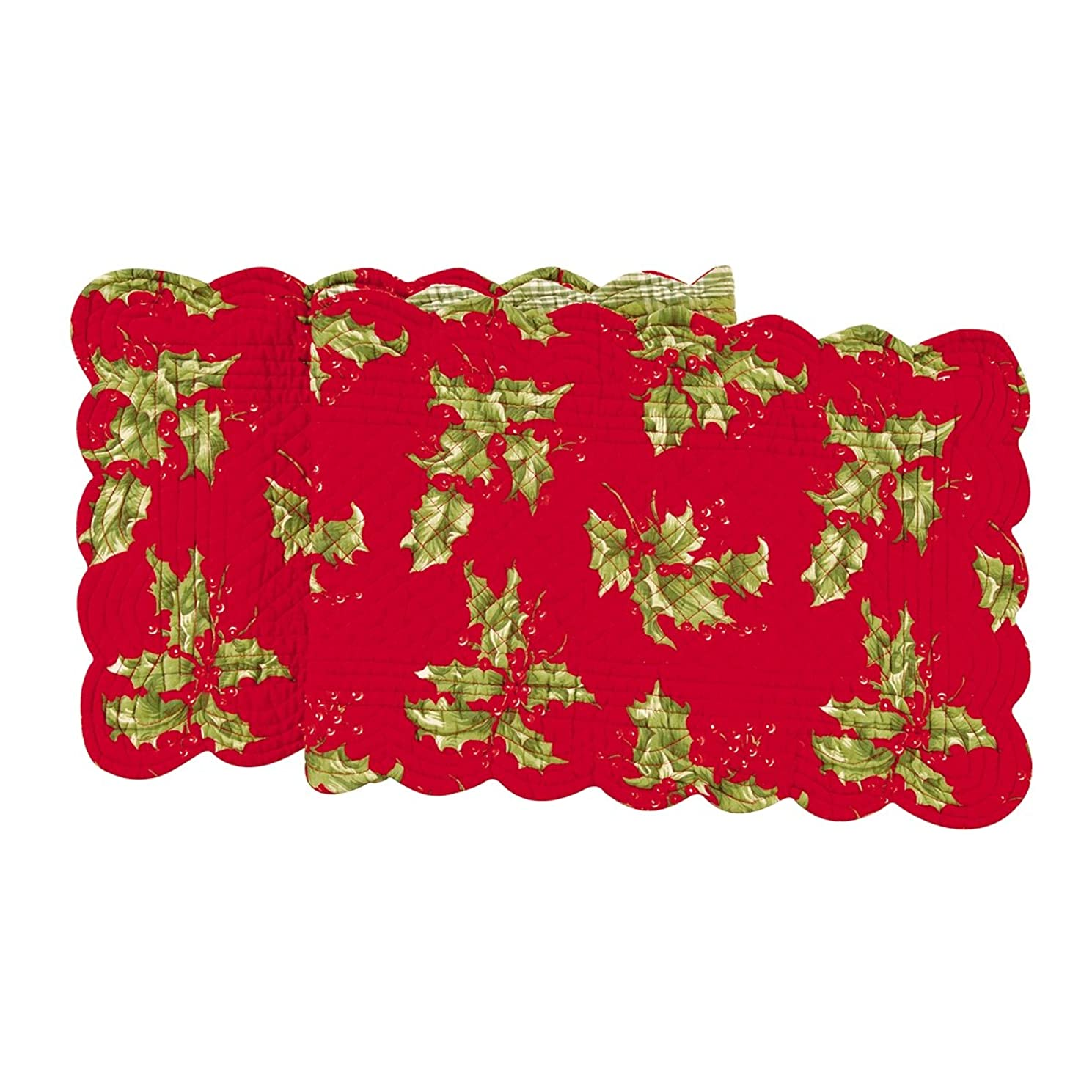 Quilted Reversible Holly Berry Holiday Table Runner Red