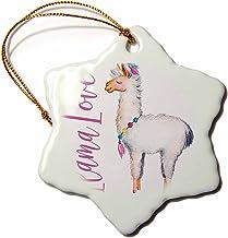 """3dRose Cute Watercolor Words Llama Love Snowflake Ornament, 3"""""""