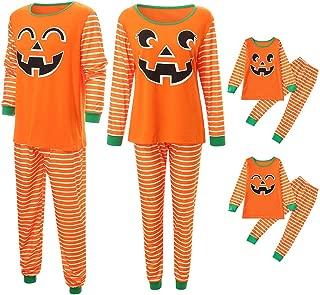 Family Matching Halloween Pajamas, Pumpkin Face Print Stripe Shirt and Pant Festival Sleepwear Set