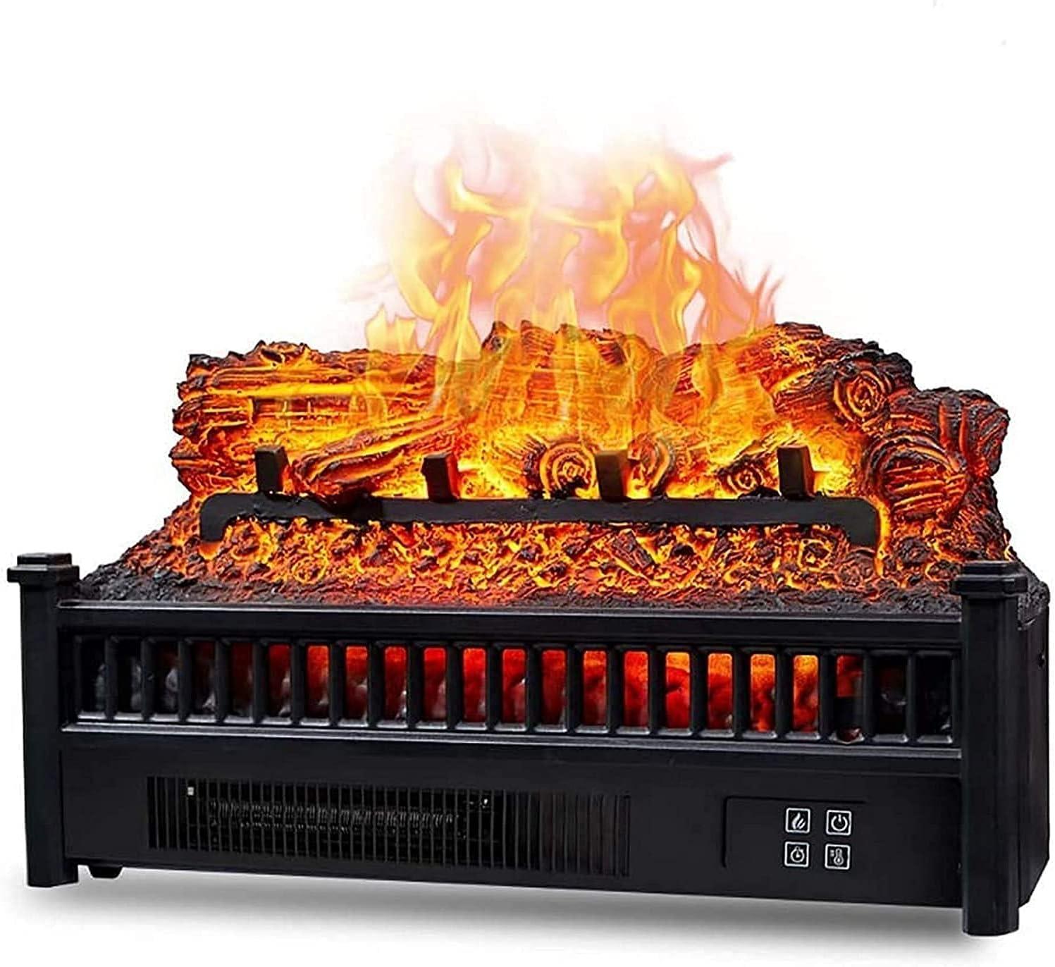 Black Eternal Flame Chimenea eléctrica calefacción de leña Chimenea eléctrica Inserto de Cuarzo de Madera Calentador de Ventilador de Cama de brasas Realista con Control Remoto por Infrarrojos