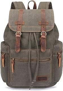 BLUBOON Canvas Vintage Backpack Leather Trim Casual Bookbag Men Women Laptop Travel Rucksack