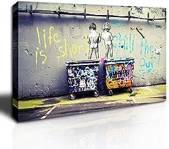 DINGDONG ART- Framed Art Einstein Poster Love is The Answer Wall Art Painting Street Graffiti Art Canvas Artwork for Livin...
