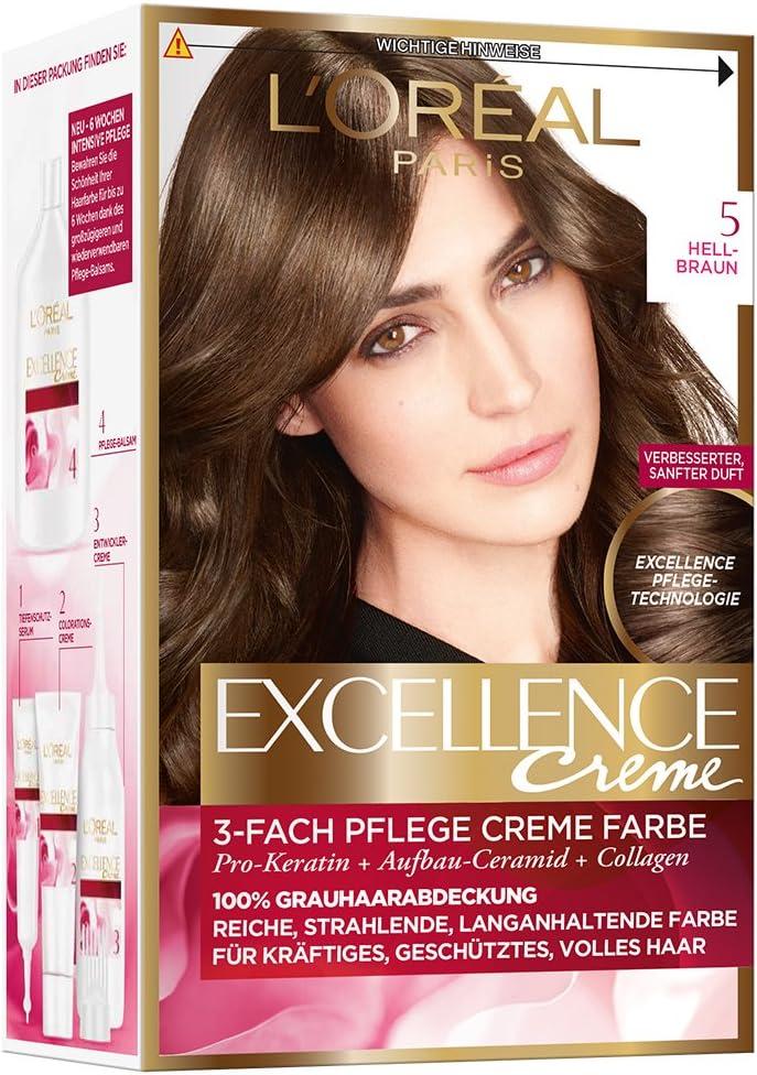 LOréal Paris Excellence Coloración Permanente, 5 Marrón Brillante - 172 ml