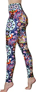 Pants - High Waisted Yoga Leggings with Bohemian Print - Extra Soft - Dry Fit