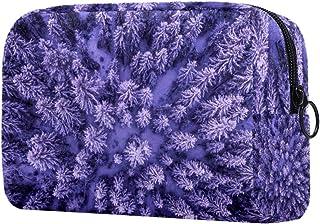 Makeup Bag Toiletry Bag for Women Purple Pine Tree Skincare Cosmetic Handy Pouch Zipper Handbag