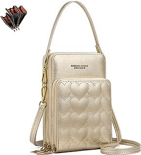 Fashion Damen Handtaschen - unisoul Handy Umhängetasche Leder Handytasche 3 Reißverschluss Beutel mit Vielen Fächern Karte...