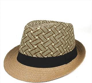 Hot Gangster Cap Unisex Women Men Fashion Beach Sun Straw Summer Casual Trendy Panama Jazz Hat Cowboy Fedora Hat` TuanTuan (Color : Coffee, Size : 56-58)
