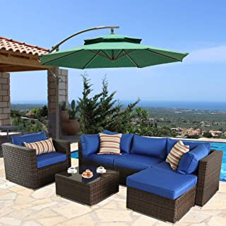 Outime Patio Furniture Sofa 6pcs Brown Rattan Wicker Couch Set Garden Sectional Home Furniture w/Coffee Table Royal Blue Cushion