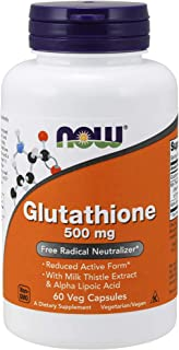 NOW Supplements, Glutathione 500 mg, With Milk Thistle Extract & Alpha Lipoic Acid, Free Radical Neutralizer*, 60 Veg Caps...