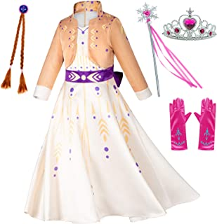 Princess Snow Queen Act 2 Costumes with Wig,Crown,Mace,Gloves Accessories 4T-10