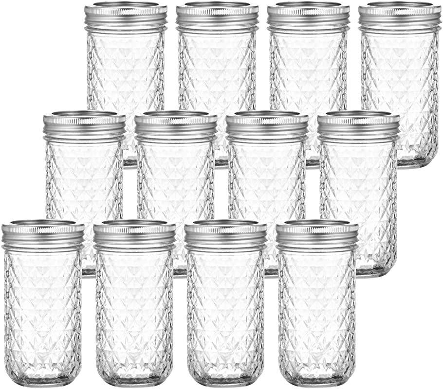 Tebery 12 Pack Mason Jars Canning Jars 12 OZ Jelly Jars With Regular Lids And Bands For Canning Freezing Preserving Beverages Jar Decor