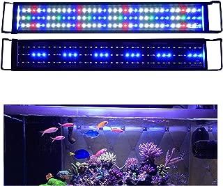 KZKR Aquarium Hood Lighting LED Fish Tank Light 24-84 inch Lamp for Freshwater Saltwater Marine Full Spectrum Blue and White Decorations Light