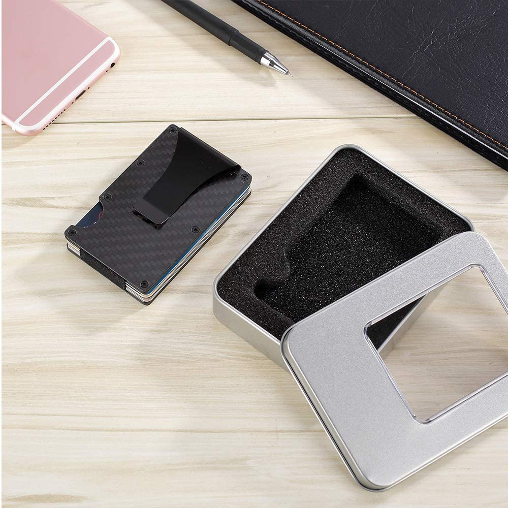 Husband Carbon Fiber RFID Wallet for Men with Money Clip Personalized Gifts for Men Boyfriend Gift. Personalized Slim Minimalist Engraved Card Holder Dad