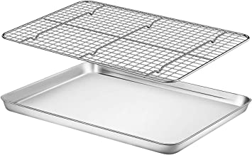 """Baking Sheet with Rack Set - Fungun (16.02"""" x 12.13""""Pan / 15.24'' x 11.22''Cooling Rack) Stainless Steel Heavy-Duty Cookie..."""