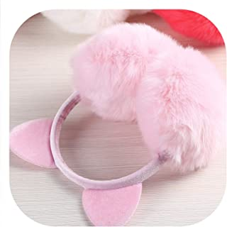 Winter Autumn Warm Faux Fur Ear Muffs Cute Cat Ear Earflap Rabbit Fur Earmuff for girls Ear flap Ladies Plush Ear muffs Women,E