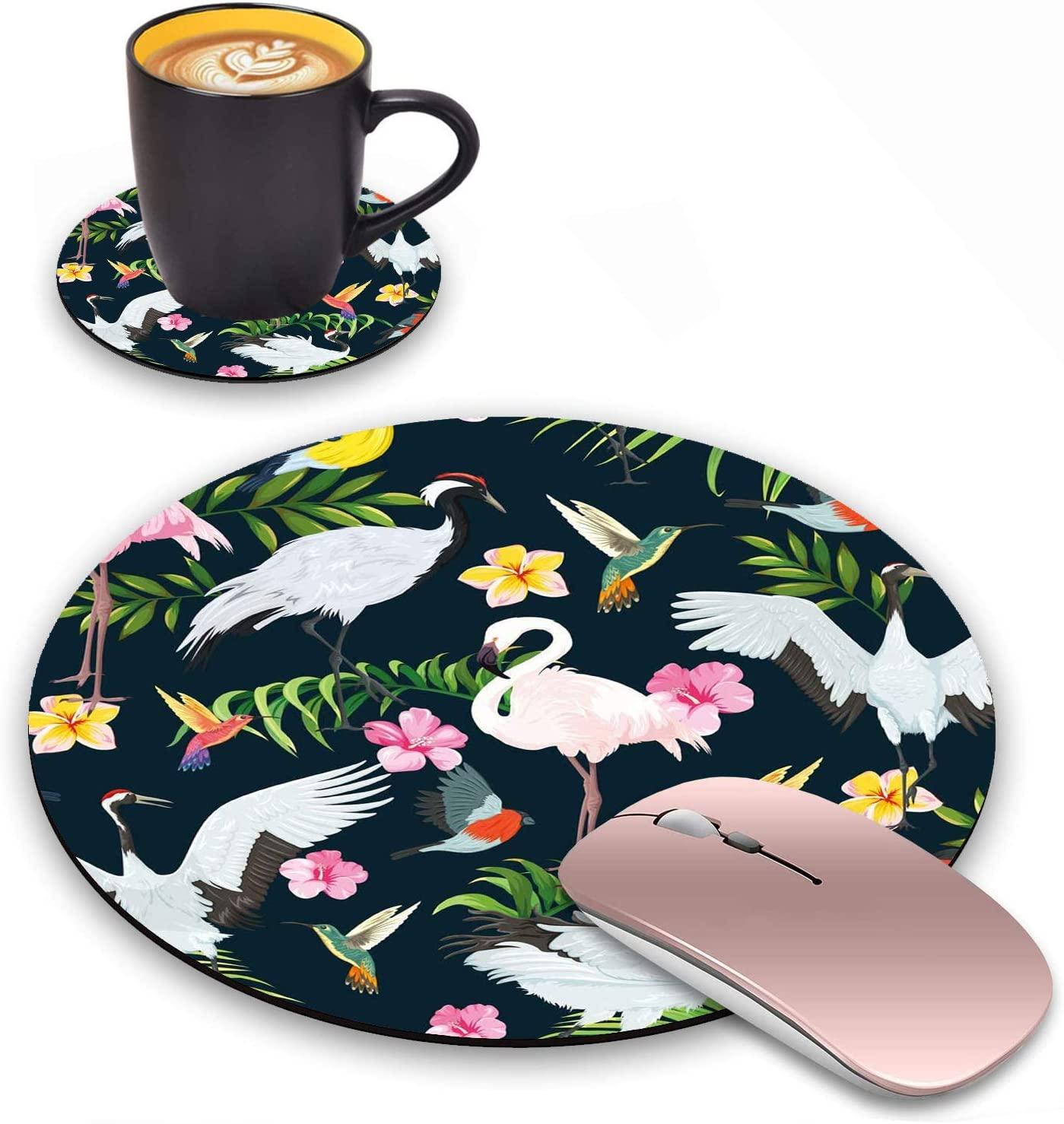 LACOMA Max 85% OFF Round Mouse Pad and Set Flamingo Tropical G All stores are sold Coasters