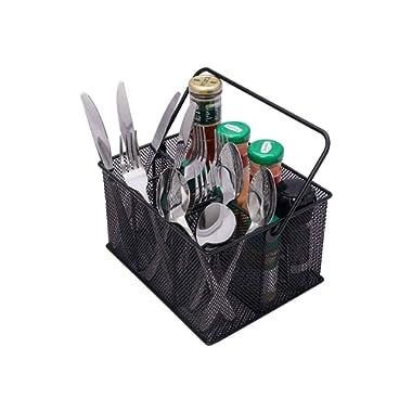 TQVAI Utensil Caddy Silverware Napkin Holder Mesh Condiment Organizer - Black