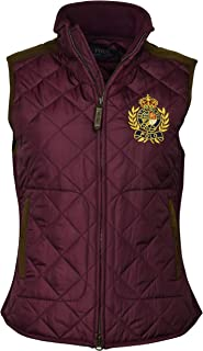 Polo Ralph Lauren Women's Leather Trimmed Quilted Crest Logo Vest - XS - Red