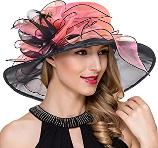 Women Organza Kentucky Derby Church Dress Fascinator Wide Brim Wedding Tea Party Hats
