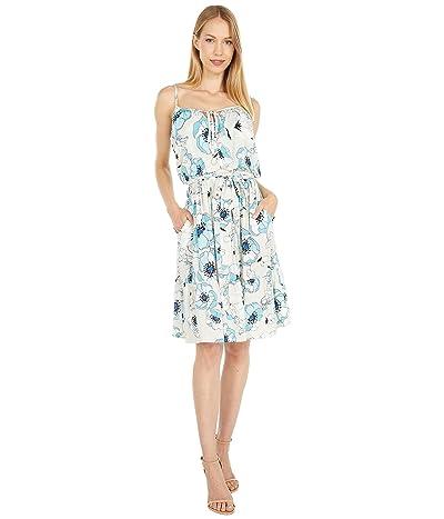 Calvin Klein Printed Maxi Dress with Self Tie Waist