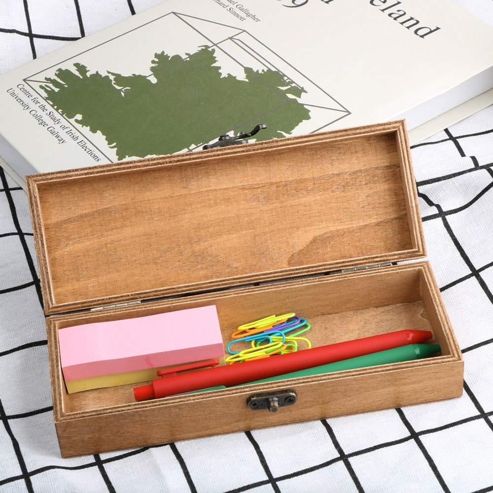 VINFUTUR Estuche Escolar Madera para Lápices Caja Madera con Tapa Organizador para Artesanía Bolígrafos Lápices Cauchos Notas 19 * 7 * 4cm: Amazon.es: Oficina y papelería