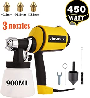 Homdox Paint Sprayer, Electric Spray Gun High Power HVLP Home Electric Spray Gun with 3 Spray Patterns 3 Nozzle Sizes & 900 ML Detachable Container