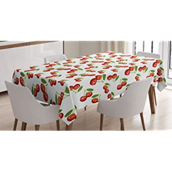 New Embroidered Tablecloth Pear Cherry Fruit Orchard Kitchen Dining  Cover M180