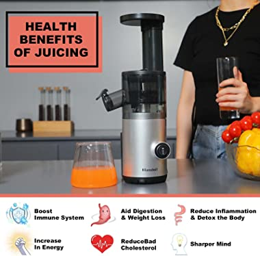 Blamdoil Compact Slow Juicer Masticating Extractor,Cold Press Juicer for High Nutrient Fruits and Vegetables,Electric Small J