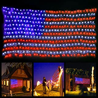 xtf2015 Led Flag Net Lights of The United States, Waterproof American Flag String Light..