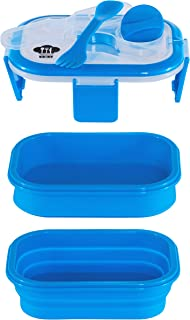 Kitchen Pro 101 Expandable & Collapsible Dual Layer Bento Box Silicone Container Children/Adult Lunch Box, 2 Compartments with Condiment Lid (Blue)