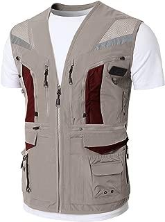 Mens Premium Casual Active Cargo Camping Vests Multi-Pocket Outdoor