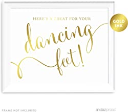 Andaz Press Wedding Party Signs, Metallic Gold Ink Print, 8.5-inch x 11-inch, Here's a Treat for Your Dancing Feet! Flip Flop Sandals High Heels Shoes Dance Floor Recption Sign, 1-Pack, Unframed